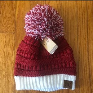 NWT CC Red & White Beanie with Pom